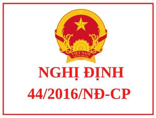 Nghị định 44/2016/NĐ-CP